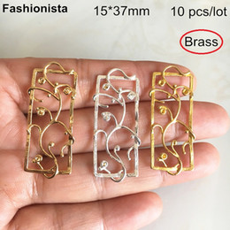 Pc Brass Australia - 10 pcs -15*37mm Brass Filigree Rectangle Charms,Twining Flower Branch Brass Charms For Earrings DIY,Gold-color,Silver-color -YS