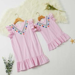 $enCountryForm.capitalKeyWord Australia - ruffled sleeveless mother daughter mommy and me dresses family matching clothes outfits look mom mum and baby girls dress pink