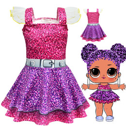 China 2019 Summer Colorful Girls Dress Dolls Girl Birthday Party Dress Halloween Christmas Child Girl Cosplay Costume Kids Clothes LOL baby Dress suppliers