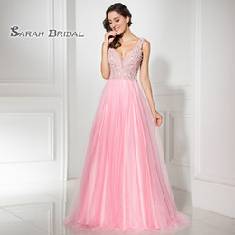 Petite Wedding Gown Pink Australia - A-Line Pink Prom Dresses 2019 Beading Tulle Deep V-Neck Formal Wear Sleeveless Evening Party Gowns LX315