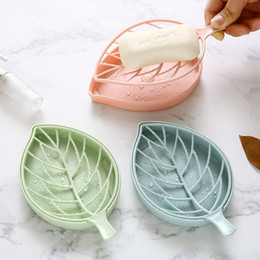 ToileT organizers online shopping - Leaf Shape Soap Box Case Toilet Bathroom Organizer Supplies Holder Plastic Double Deck Shower Soaps Storage Dishes yd hh