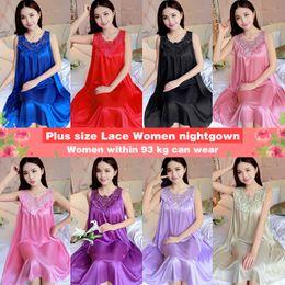 $enCountryForm.capitalKeyWord Australia - Yidanna Women nightgown Summer Sleepshirt Plus Size Lace Female Sleepwear Sexy Lady Silk Nighty Sleeveless Floral Sleep Clothing