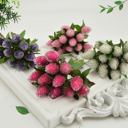 Flowers For Wedding Car Decoration Australia - 12pcs Artificial Strawberry Flower Bouquet For Home Party Wedding Car Decoration DIY Scrapbooking Wreath Fake Flower