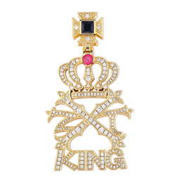 mens crown pendant Australia - Luxury Design Iced Out Zircon Crown KING Pendant Necklace with Rope Chain Tennis Chain Mens Hip Hop Jewelry
