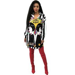 018692f73 Beleza impressão branco com tarja preta camisa de manga longa dress  mulheres turn-down collar button up blusa dress senhoras streetwear camisa  de grandes ...