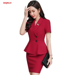 $enCountryForm.capitalKeyWord Australia - Women Business Suits 2 Piece Skirt and Top Sets Red Blazers Jacket Short Sleeve Blazer Sets Office Ladies Work Wear Uniforms 927