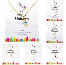 Unicorn Necklace Pendant Wihoo Horse Pendant Children Girls Cute Fashion Women Jewelry Gift Card Kids Enamel on Sale