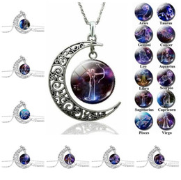 astrology pendants NZ - 12 Zodiac Sign Pendant Necklace Galaxy Constellation Design Horoscope Astrology Necklace For Women Men Glass Cabochon Jewelry gift