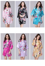Silk kimono Set online shopping - 12 Colors bathrobe Sleeping gown S XXL Sexy Women s Japanese Silk Kimono Robe Pajamas Nightdress Sleepwear floral Underwear
