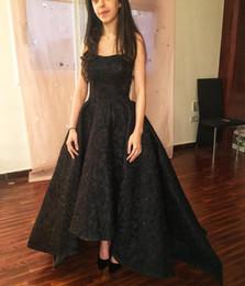 Full Length Sparkly Dress UK - 2018 Elegant Black High Low Strapless Satin Formal Evening Dresses Sparkly Sequins Full Lace Appliqued A Line Long Prom Gowns Vintage