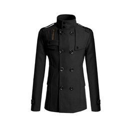 Discount double pocket coat for men jacket with double-breasted collar and Mandarin fashion wool coat for Winter for men Thick and warm coats with pockets SA-8