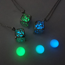 Necklaces Pendants Australia - Tree Of Life Dark Luminous Necklaces Silver Color Chain Necklace Glowing in Dark Pendant Necklaces Collares Maxi Choker Jewelry