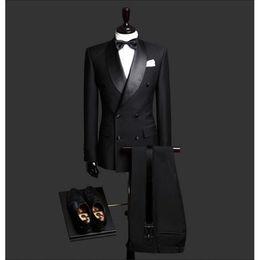 Men Suits Australia - Custom Made Slim Fit Black 2 Piece Mens Blazer Double Breasted Suit Wedding Suits Groom Tuxedos For Men (jacket+pants+tie) C19041801