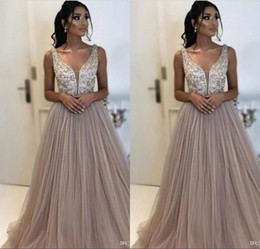 c09a0c46ef9 Gray Evening Dresses Beads Sequins Top A Line Plunging Neck Tulle Long  Vestidos Women Occasion Prom Party Gowns