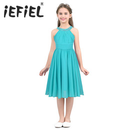 teenager pageant dresses NZ - Iefiel Kids Girls Children Teenager Wedding Princess Dress Elegant Party Pageant Formal Flower Shaped Rhinestone Chiffon DressMX190822