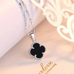 $enCountryForm.capitalKeyWord Australia - 999 Pure Silver Lucky Clover Necklace Female Clavicle Chain Korean Fashion 18k Rose Gold Ornaments Factory Outlet