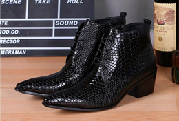 skin leather pointed men shoe Canada - Genuine leather pointed toe Men's dress shoes High-top Men's oxfords crocodile skin Ankle boots catwalks fashion show Nightclub party shoes