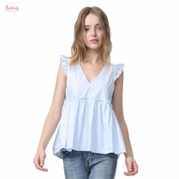 ruffle back blouse NZ - Women Elegant Ruffled Blouses V Neck Back Bow Tie Blusas Pleated Shirt Casual Sweet Chic Tops Sleeveless Wa014