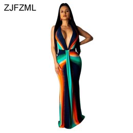 5bcf1e4273a4 Colorful Tie Dye Print Sexy Plus Size Dress Women Deep V Neck High Waist  Mermaid Dress Elegant Sleeveless Maxi Club Party Dress