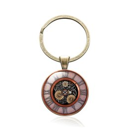 woman talisman pendant NZ - Steam Punk Keychain Antique Bronze Glass Cabochon Product Talisman Keyring Mechanical Watch Pendant Key Chain Fashion Jewelry Accessory