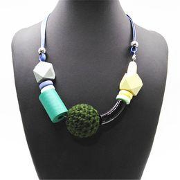 Girl Choker Chain Australia - Neon Green Girl Geometric Ethnic Big Ball Fashion Vintage Wood Pendants Choker Necklace Women Sweater Chain Jewelry Wedding