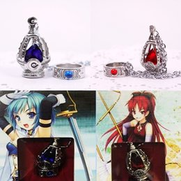 Cosplay earrings online shopping - Puella Magi Madoka Magica Soul Gem Necklace Ring Cosplay Jewelry Set Anime Necklace For Women