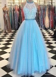 60a062a682 White Lace Dress Blue Lining Australia - WHITE LACE APPLIQUES PROM DRESSES  2019 LIGHT BLUE TULLE