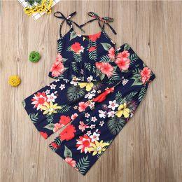 Summer Clothes Uk Australia - Toddler Baby Girls Clothes Vest Tops+Pants Summer Floral Casual Sunsuit Set UK