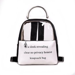 Clear Printing Letter Transparent Backpack Teenage Girls Leather Women  Student colorful Book Bag travel Jelly Small Schoolbag LJJQ151 6e8f5ac077