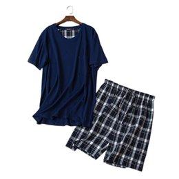 Men's Sleep & Lounge 2019 New Style Summer Striped Mens Pajamas Short Sleeve 100% Cotton Shorts Set Leisure Home Wear Set Wholesale Xl-xxxl