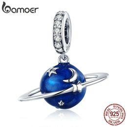 Planet Charm Bracelet Australia - 925 Sterling Silver Secret Planet Moon Star Pendant Blue Enamel Charms Fit Charm Bracelets Necklace DIY Jewelry Birthday Gift