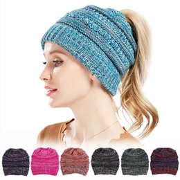 e93228ec50f Winter Hats For Women Girl Wool Hat 2018 Autumn Winter New Knitted Wool Hat  Mixed Color Warm Capless Cap Adult Ponytail Cap