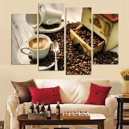 Large Oil Prints Canvas Australia - Modern Oil Painting Canvas Home Decor Framework 4 Panel Coffee Wall Art Modular Art Picture Living Room HD Print Large Poster