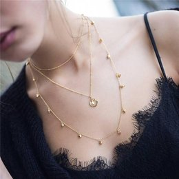 $enCountryForm.capitalKeyWord NZ - Fashion Moon Star Pendant Choker Necklace Gold Color Alloy Zinc Chain Necklace Necklace For Women Party Jewelry Archery Necklaces ALXY05