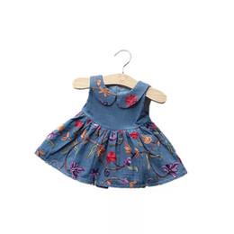 $enCountryForm.capitalKeyWord UK - Newest Designing Denim flower embroidery Cotton princess dress turn-down collar sleeveless ruffled fashion cowboy and dress for girls 0-4T