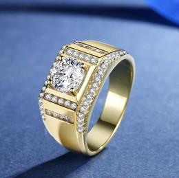 Ring Diamond Cluster Australia - Men's Gold Ring Europe and America Exaggerated Large Grain Diamond Ring 18K Gold Inlaid Luxury Zircon Simulation Ring Pandora Bracelet