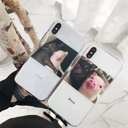 apple couple NZ - Lovely Couple Pig Apple X Mobile Phone Case iPhone8Plus Transparent Protective Case 7plus Full Package Soft 6s Personality