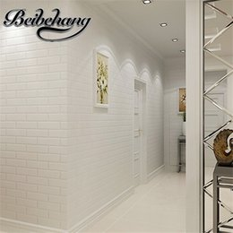 Wholesale barbers clothes for sale – custom beibehang High quality D concavity in the Mediterranean pure white brick wallpaper clothing shop barber stereo brick wallpaper
