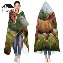 $enCountryForm.capitalKeyWord Australia - Portable Wearable Fluffy Custom Hooded Blanket Horse Animals Oil Painting Fleece Hooded Throw WrapBed Blanket