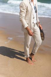 Men White Linen Casual Suits Australia - Linen Summer Smart Casual Men Slim Fit Relax Boyfriend Suit Party Gown Wedding Dress Jacket Pants Tuxedos C190416