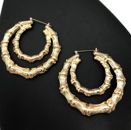 gold bamboo hoop earrings wholesale 2019 - New Ethnic Style Geometric Hoop Earrings Gold Silver Color Alloy Tone Bamboo Punk Women Big Hollow Creole Women Bijoux H