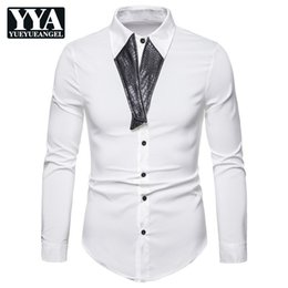 $enCountryForm.capitalKeyWord Australia - 2019 Brand Fashion Male Shirt Long Sleeves Tops Fashion Splice PU Leather Mens Casual Shirts Slim Fit Man High Quality Clothes