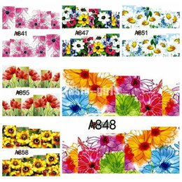 Wholesale 1 sheet Nails Sheet Beautiful Blossoming Flowers Floral Floret Painting Water Transfer Nail Art Stickers Decals DIY A841