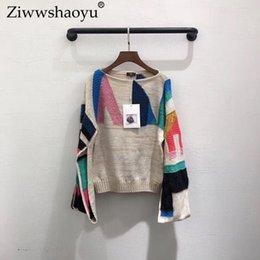 Опт Ziwwshaoyu Fashion Контрастный свитер O-образным вырезом Criss-Cross Свободный свитер Осень новый женский