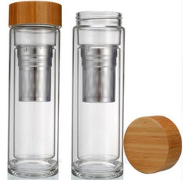 Electric Hot Warmer Australia - 400ml Bamboo lid Double Walled glass tea tumbler. Includes strainer and infuser basket Water Bottles fast shipping
