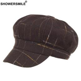 b60ea52c77b wholesale Women Newsboy Caps Plaid Tweed Flat Hat Berets Coffee Checkered  Baker Boy Cap Ladies Casual Winter Painter Cap Ivy
