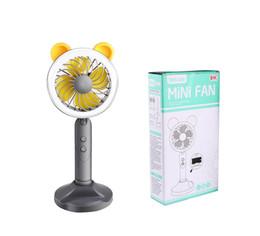 Discount usb desktop charging - Portable Summer Mini Fan Night Light USB Charging Led Eye Lamp LED Lamp Fan USB Charging Battery Handheld Desktop Bracke