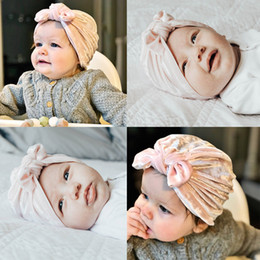 Toddler Bonnets Australia - Lovely Rabbit Ear Baby Hats Children Kids Boys Girls Top Knot Beanies Hat Caps Toddler Soft Flannel Warm Winter Cap Bonnet
