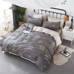 Luxury grey bedding online shopping - Luxury Bedding Set King Size Simple Creative Grey Duvet Cover Crown Queen Twin Full Single Comfortable Bed Cover with Pillowcase