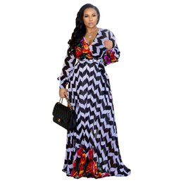 Wholesale floral chiffon maxi dress purple resale online – Floral Print Vintage Chiffon Dress Deep V Neck Long Lantern Sleeve Floor Length Dress Spring Plus Size Beach Maxi Dress